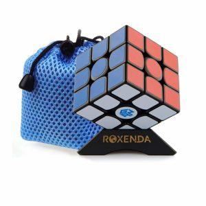 Roxenda Gan 356 Air Speed Cube Professionale 3x3x3 Speedcube Ganspuzzle Cubo di velocità Puzzle Nero con Cube Stand And Bag